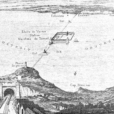 Thomé de Gamond's plan for a Channel tunnel, with a harbour mid-Channel on the Varne sandbank.