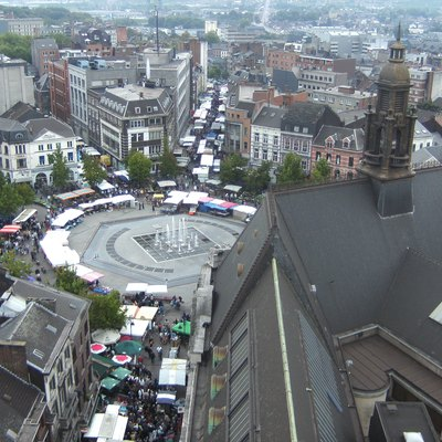 Charles II square aka. Ville-Haute square in Charleroi, Belgium. View from the belfry on market day.