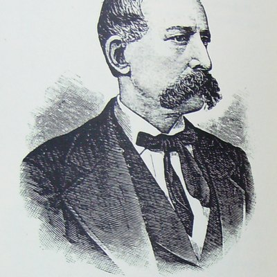 An illustration of Charles J. Ackert, publisher of the first newspaper in New Paltz, New York.