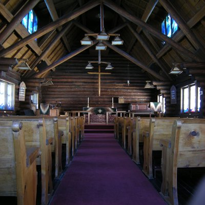 Interior, St. Andrew's Episcopal Church, Chelan, Washington. The church is listed on the National Register of Historic Places.
