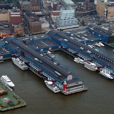 Chelsea Piers as seen from the air. Pier 62 is on the left, with the driving range of Pier 59 partially visible on the right