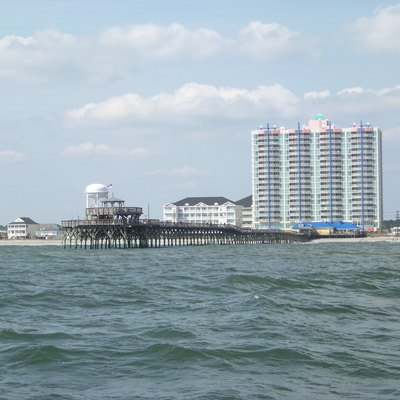 The Cherry Grove Pier, as seen from the Atlantic Ocean at Cherry Grove Beach, South Carolina, United States.