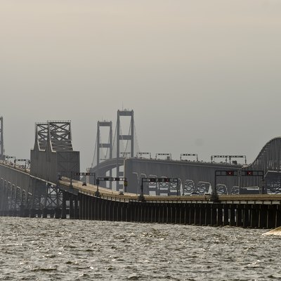 Chesapeake Bay Bridge from the Queen Anne's County side, Maryland, USA