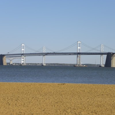 A picture of the Chesapeake Bay Bridge, seen from Sandy Point state park on the other side of the Bridge.