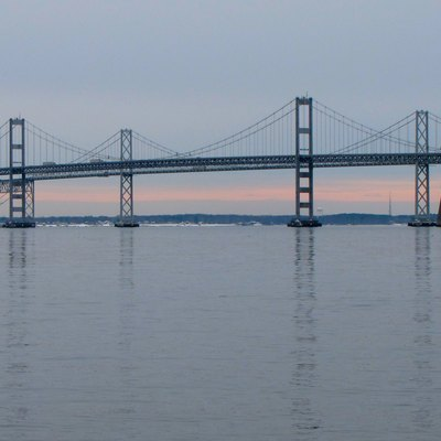 The Chesapeake Bay Bridge as viewed from Sandy Point State Park in Anne Arundel County, Maryland.