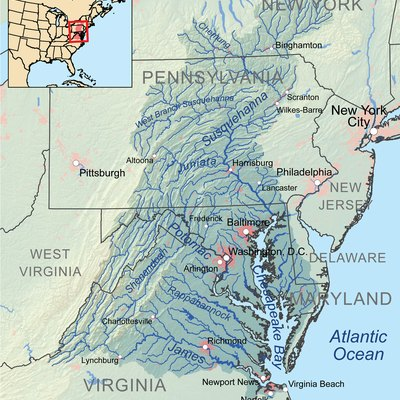 Map showing the Chesapeake Bay drainage basin.