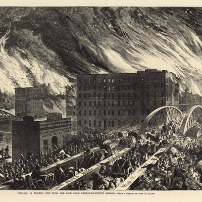 The Great Chicago Fire, an artists rendering, Chicago in Flames -- The Rush for Lives Over Randolph Street Bridge