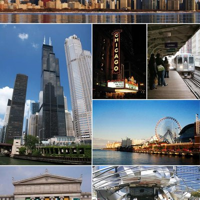 From top left: Downtown Chicago, the Willis Tower, the bucetar, the Chicago