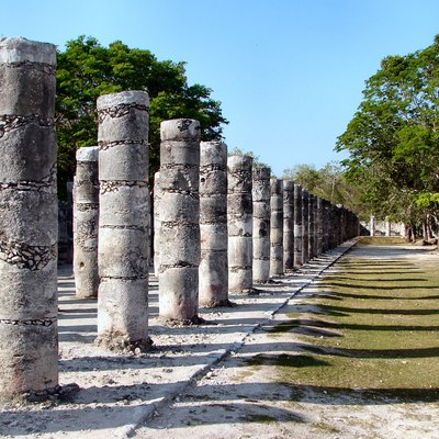 Group of a Thousand Columns at the Chichen Itza World Heritage Site.