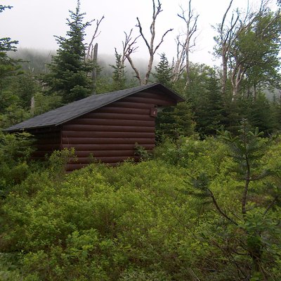 Lean-to shelter at Chimney Pond Campground in Baxter State Park, Maine. Photo by Ken Gallager.