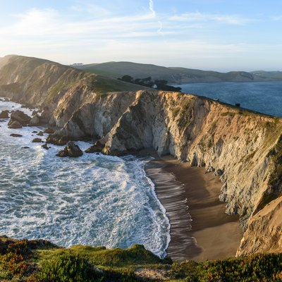 Three-segment panorama of Point Reyes headlands from Chimney Rock Trail, Point Reyes National Seashore, California.