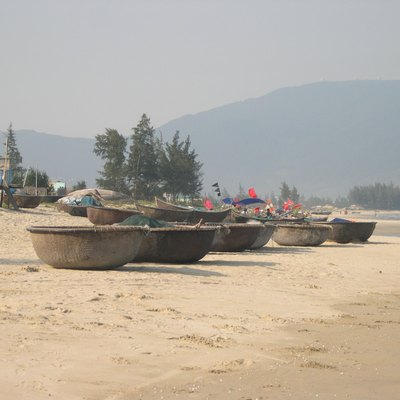 Round boats on China Beach in Vietnam