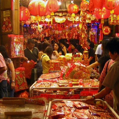 A scene in a street market in Chinatown, Singapore, during the Chinese New Year holidays.