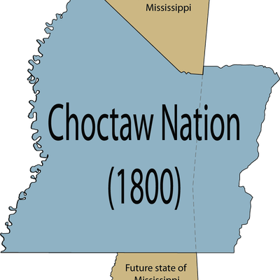 Map of the complete Choctaw Nation in 1800 before land cessions in relation to the U.S. state of Mississippi.
