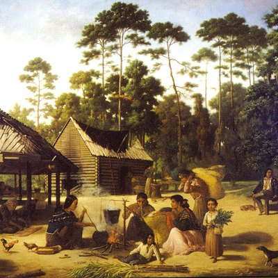 Choctaw Village near the Chefuncte, The women appear to be making dye to color the strips of cane beside them.