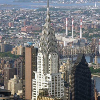 View from Empire State Building, 2005. Chrysler Building in New York City.