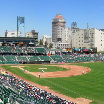 Downtown Fresno, third most populated city in Northern California, skyline from Chukchansi Park