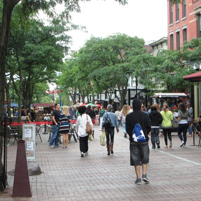 The Church Street Marketplace looking south from Bank Street in Burlington, Vermont