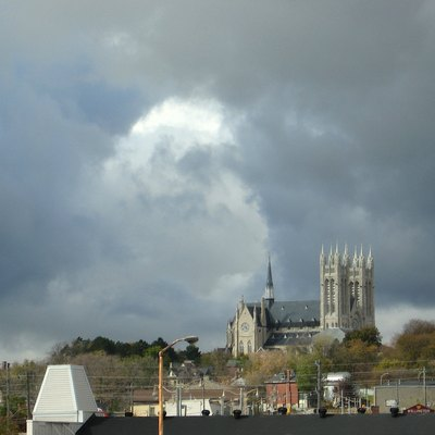 Church of Our Lady, Guelph, Ontario, from rivers confluence, Guelph, Ontario