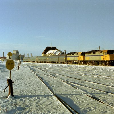 Via Rail train in Churchill station