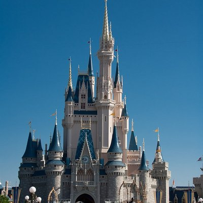 View of Cinderella Castle at Magic Kingdom, Walt Disney World. Photo is a slightly cropped version of the original found here