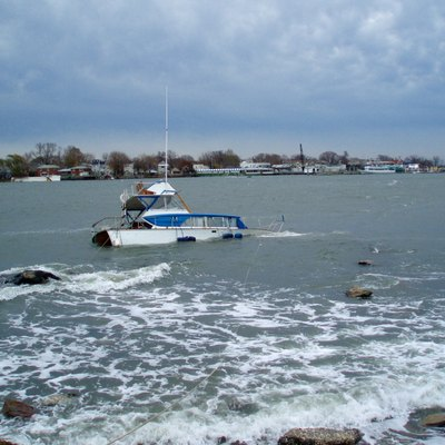 Rough surf on a winter day - looking at City Island from Orchard Beach