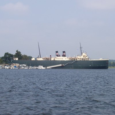 The SS City of Milwaukee, a retired railroad car ferry, in Manistee harbor