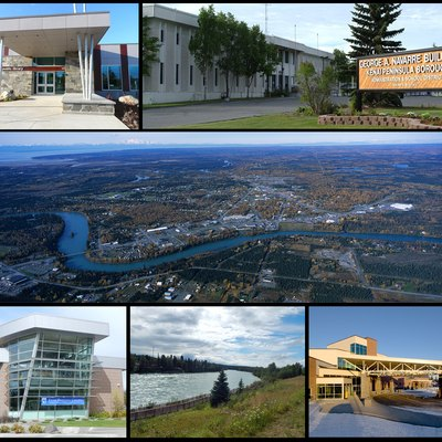 City of Soldotna Collage including the city library, Kenai Peninsula College, Soldotna Creek Park, the Central Peninsula Hospital, the Kenai Peninsula Borough Building, and an aerial of the city.