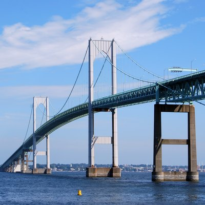 The Claiborne Pell Newport Bridge in Newport, Rhode Island, United States, a suspension bridge that connects Newport and Jamestown, crossing the Narragansett Bay. It was built in 1969 and is featured on the reverse of the Rhode Island quarter.