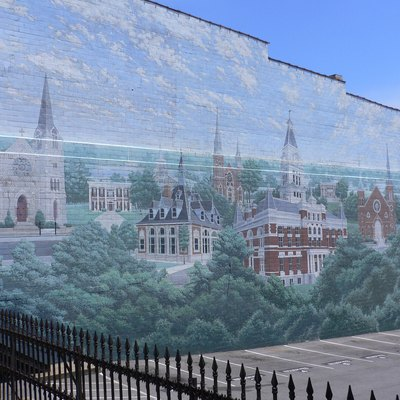 Mural of historic buildings, at Clarksville, Tennessee, United States.