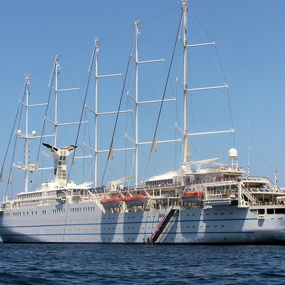 Club Med 2 is a 5-masted sailing ship owned by Club Med. Launched 1992 at Le Havre, France. Passengers: 400, crew: 200. Length 187 metres, gross tonnage 14,983. She cruises in the Mediterranean, Caribbean and Atlantic. Photographed by Adrian Pingstone in Capri Harbour, Italy, in June 2007, and placed in the public domain.