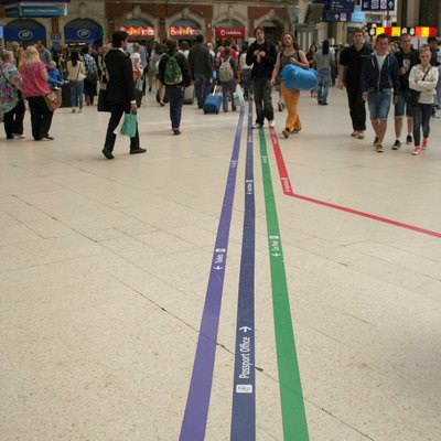 Lines on the floor of London Victoria railway station in July 2013.