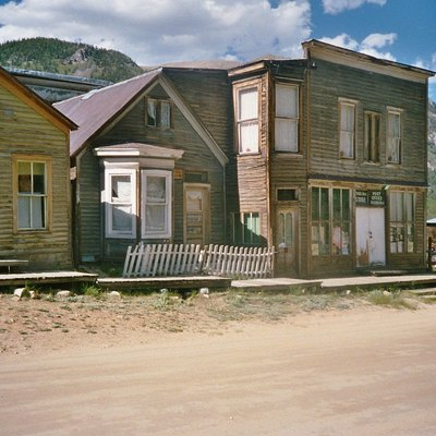 Scene in the ghost town of St. Elmo in Chaffee County, Colorado, United States. The entire community is listed as a historic district on the National Register of Historic Places.