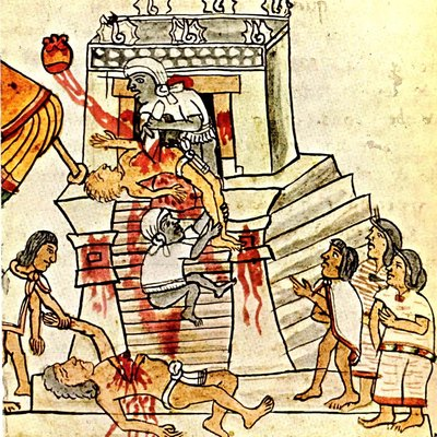 Aztec ritual human sacrifice portrayed in the page 141 (folio 70r) of the Codex Magliabechiano..