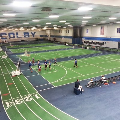 Colby College-Fieldhouse Inside The Harold Alfond Athletic Center, With Indoor Track And Four Convertible Tennis Or Basketball Courts.