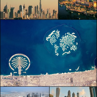 Clockwise from the top: skyline with Burj Khalifa; Burj Al Arab; satellite image showing Palm Jumeirah and The World Islands; Dubai Marina; and Sheikh Zayed road.