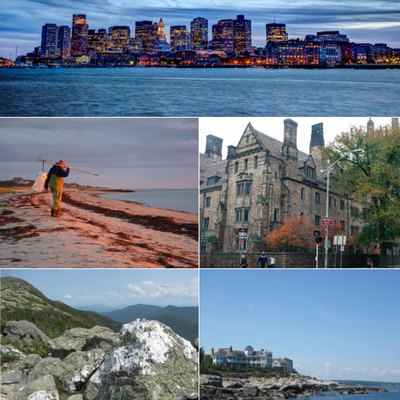 Collage of images related to New England. Clockwise from top: skyline of Boston, Massachusetts at night; building of Yale University in New Haven, Connecticut; Nubble Light on Cape Neddick, Maine; view from Mount Mansfield, Vermont; and a fisherman on Cape Cod, Massachusetts.