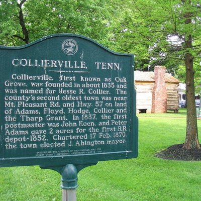 A small sign in Collierville's Historic Town Square depicting the early history of the town.