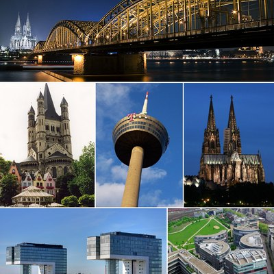 Photo montage of various famous landmarks in Cologne, Germany.