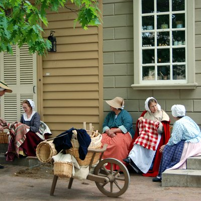 Women reenacting in Colonial Williamsburg
