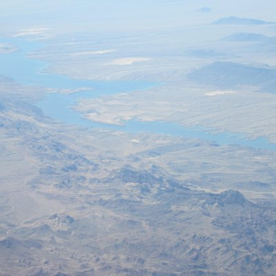 Aerial view of the Colorado River and surrounding Mohave Desert upriver from Lake Mohave. Arizona is at the left. Nevada is at the right. February 2013