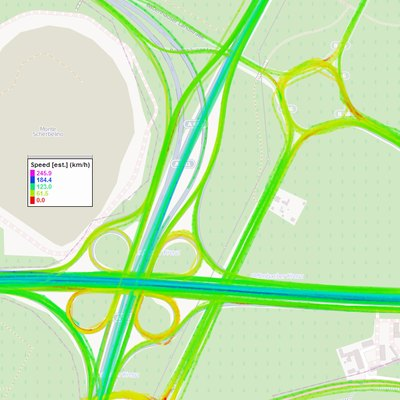 Coloring GPS Tracks around the Offenbacher Kreuz near Frankfurt (Germany) according to speed
