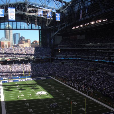View of Lucas Oil Stadium facing northeast during an NFL game between the Indianapolis Colts and Baltimore Ravens.