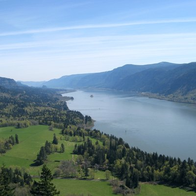 View of the Columbia River from Cape Horn Trail, facing east toward Beacon Rock (in distance on left)
