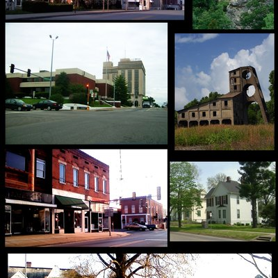 Compilation of images I took around Harrisburg. From left to right: 1. North side of town square. 2. Garden of the Gods. 3. Harrisburg National Bank and courthouse. 4. Muddy Ogara Coal Tipple. 5. South side of town square. 6. Mansions on Poplar Street. 7. Harrisburg High School