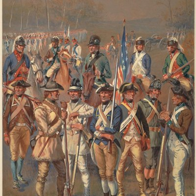 A watercolor painting depicting a variety of Continental Army soldiers.