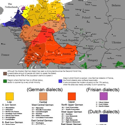 The dialectal ranges (not those of standard languages!) of the Continental West Germanic languages (Dutch/Frisian/German)