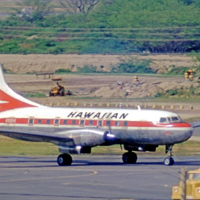 Convair 640 N5511K of Hawaiian Airlines at Honolulu Airport in 1971