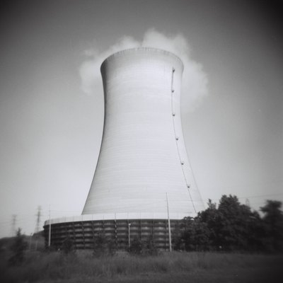 The chiller or cooling tower of the Michigan City Generating Station — the most ubiquitous symbol of Michigan City, Indiana.