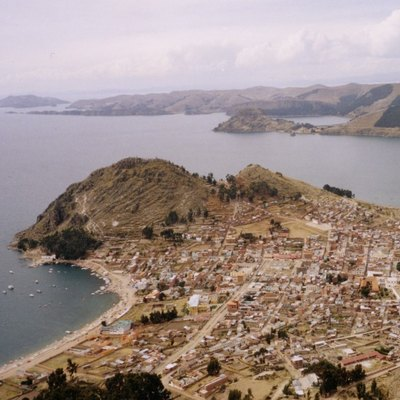 Copacabana (bolivia) as seen from above by paraglider
